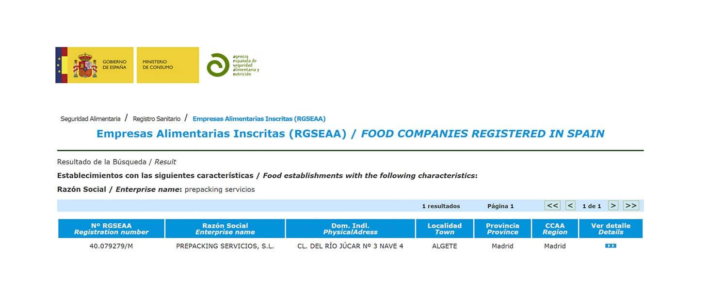 Certificado de almacenamiento de alimentos